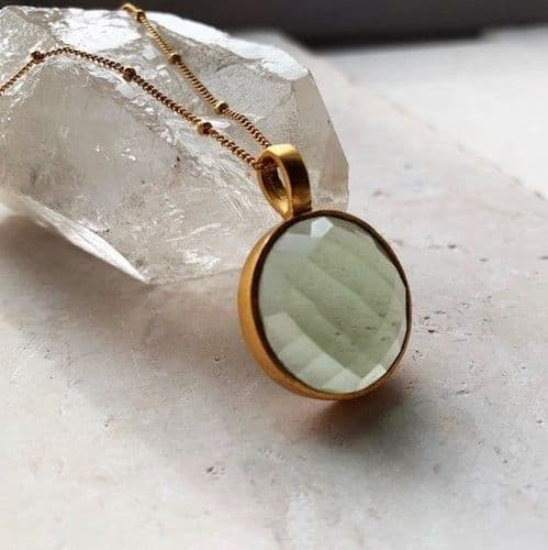 Sofia Pendant Necklace: Gold and Soft Green