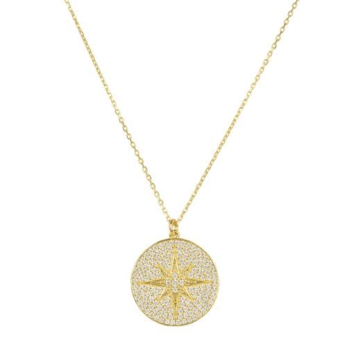 Starburst Pendant Necklace: Gold