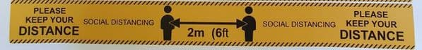 Social Distancing 2m (6ft Anti-Slip floor sticker safety signs x1 rectangle
