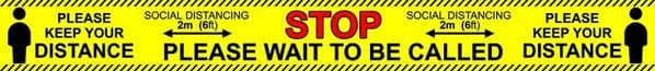 Social distancing STOP Anti-Slip floor & wall stickers 2m (6ft) safety signs