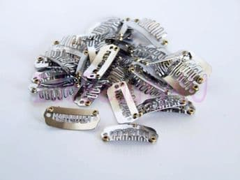 10 x HAIR PIECE CLIP EXTENSIONS SNAP CLIPS SMALL SILVER NO SILICONE 2.2 CM