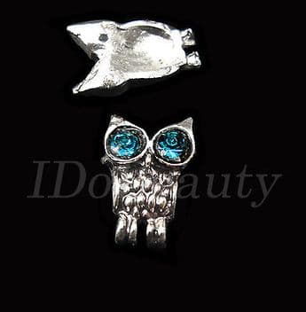 2 METAL ALLOY BIRD OWL TIP NAIL ART DECORATION  JEWELRY CHARMS FOR NAILS