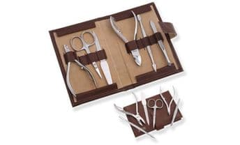 Manicure Kit pushers cuticle nippers cutters tweezers Brown Faux case