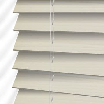 Cream Faux Wood Venetian Blinds in Embossed Soft Linen