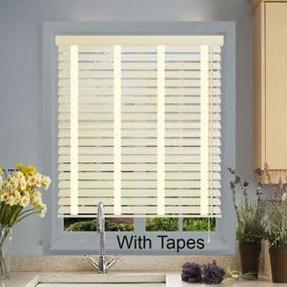 Cream Faux Wood Venetian Blinds With Tapes in Soft Linen Embossed