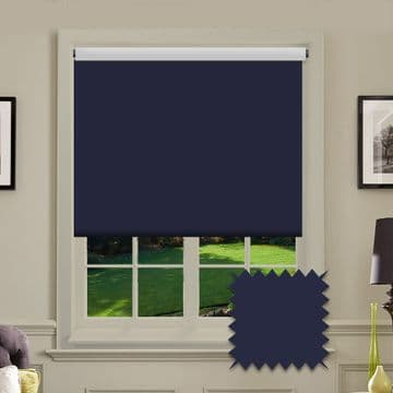 Dark Blue Plain Roller Blind in Carnival Sapphire FR / Antibacterial fabric