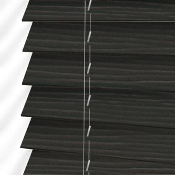 Dark Brown Oak Embossed Sunwood Faux Wood Venetian Blinds in Callo