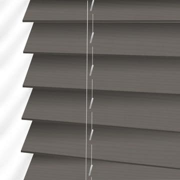 Dark Grey Embossed Sunwood Faux Wood Venetian Blinds in Orion Fine Grain