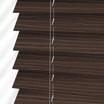Dark Oak Embossed Sunwood Faux Wood Venetian Blinds in Lima