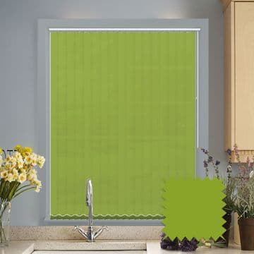 Green Made to measure vertical blinds in Carnival Kiwi plain FR / Antibacterial fabric