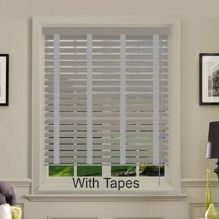 Grey Faux Wood Venetian Blinds With Tapes in Cool Grey Embossed