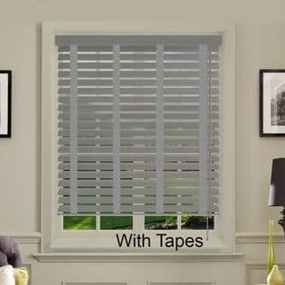 Grey Faux Wood Venetian Blinds With Tapes in Nimbus Grey Embossed