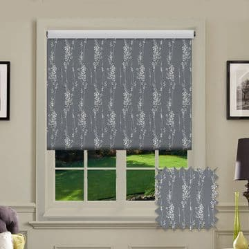 Grey with Silver flowers Patterned Roller Blind in Peyton Elephant