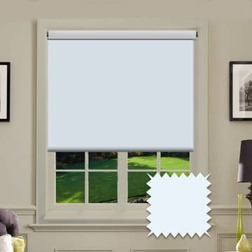 Light Blue Plain Roller Blind in Carnival Cloud FR / Antibacterial fabric