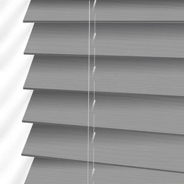 Light Grey Embossed Sunwood Faux Wood Venetian Blinds in Mission Fine Grain