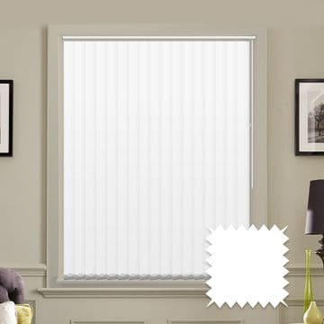 """Made to measure 5"""" vertical blinds in Unicolour Naro White plain fabric"""