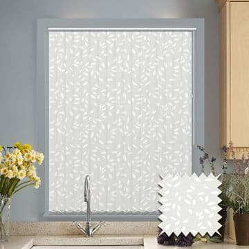 Made to Measure Vertical Blinds in Chatsworth White fabric
