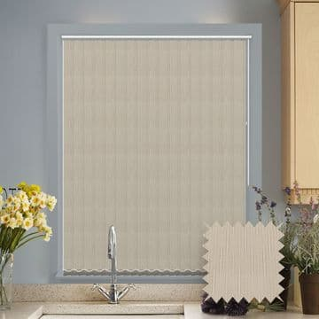 Made to measure vertical blinds in Dalia Cream patterned fabric
