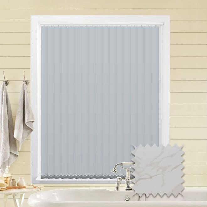 Made to Measure Vertical Blinds in PVC Blackout fabric in Picasso White - Just Blinds