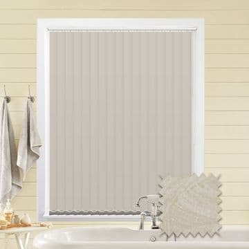 Made to Measure Vertical Blinds in PVC Blackout fabric in Samba Mist
