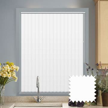 Made to Measure Vertical Blinds in PVC Blackout fabric in White