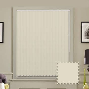 Made to measure vertical blinds in Splash Butter Cream plain fabric