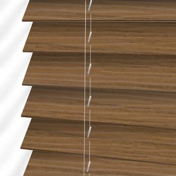 Oak Embossed Sunwood Faux Wood Venetian Blinds in Amber