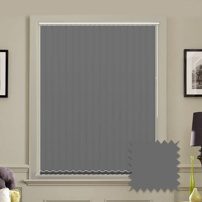 Unicolour Charcoal 5 inch Vertical Blinds - made to measure - Just Blinds