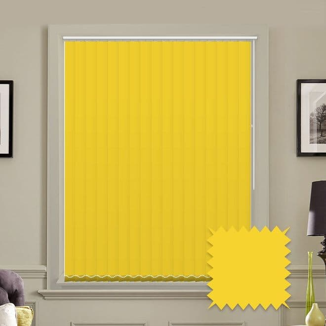 Unicolour Luna Yellow 5 inch Vertical Blinds - made to measure - Just Blinds