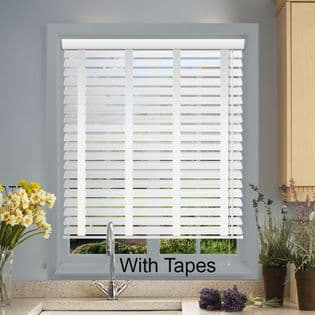 White Faux Wood Venetian Blinds With Tapes in Glaze White Embossed