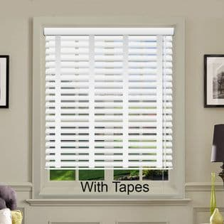 White Faux Wood Venetian Blinds With Tapes in Morning Frost