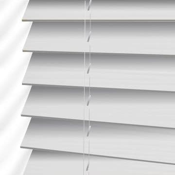 White Hollywood Faux Wood Venetian Blinds in Arctic White