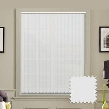 White Made to measure vertical blinds in Carnival China White plain FR / Antibacterial fabric