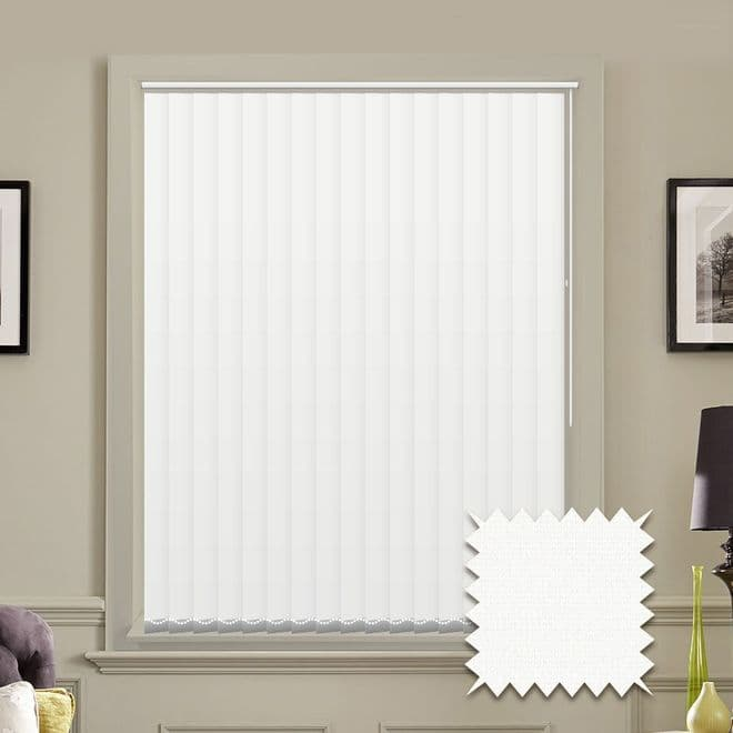 Made to measure vertical blinds in Guardian white plain fabric - Just Blinds