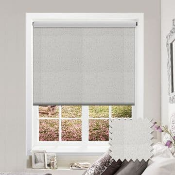 White Shiny Patterned Roller Blind in Samara Ice