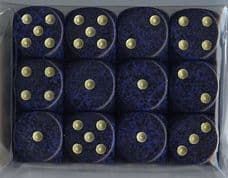 12 x 6-sided Dice: Mottled Dark Blue with Gold Spots