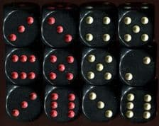 Twelve x 6-sided Dice: Black with Red and Black with Gold Spots