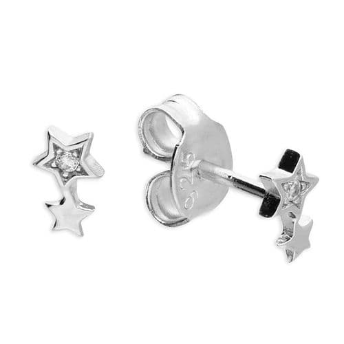Delicate double star stud earrings