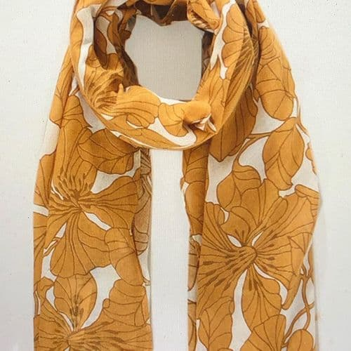 Gorgeous mustard floral print scarf