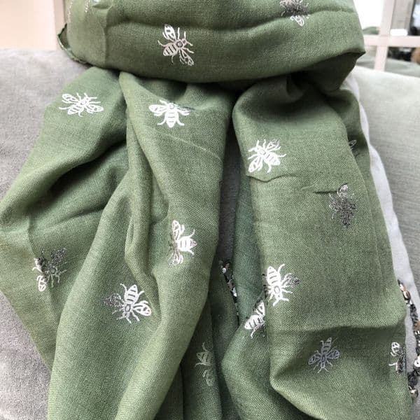 Honey bee silver foil print scarf - various colours