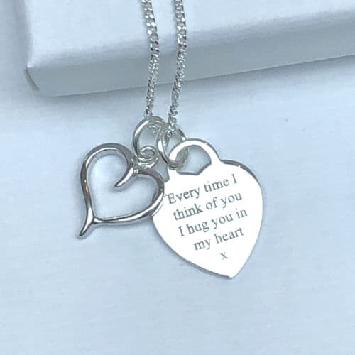 Hug you in my heart - silver necklace gift - FREE ENGRAVING