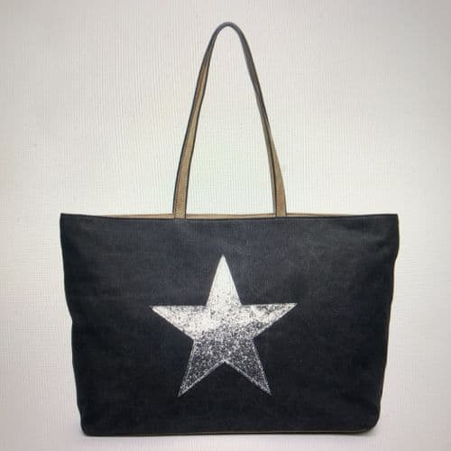 Large sparkly star tote bag