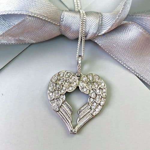 Silver angel wings heart necklace