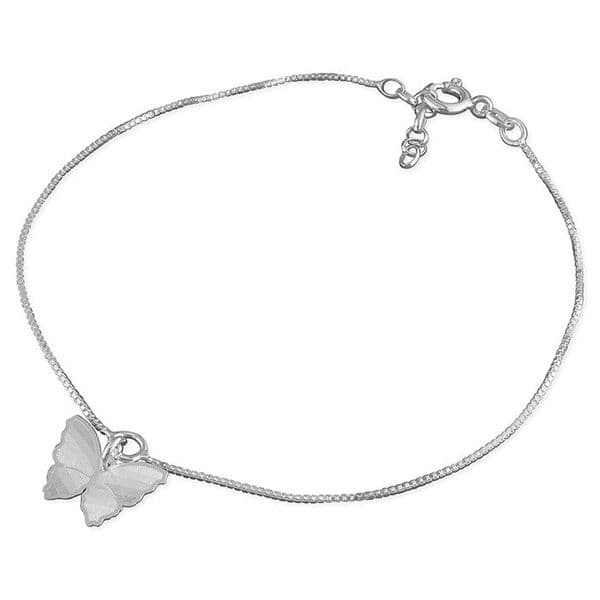 Silver ankle chain - buterfly