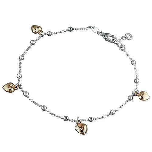 Silver ankle chain - rose gold hearts anklet
