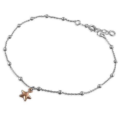 Silver ankle chain -  rose gold star