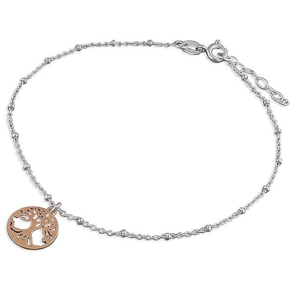 Silver ankle chain - rose gold tree of life anklet