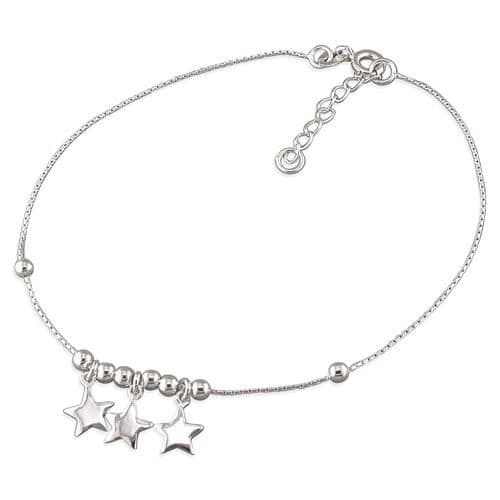 Silver ankle chain - three stars
