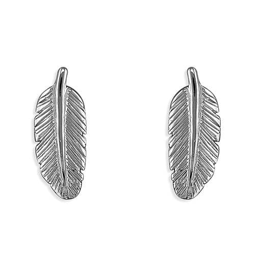 Silver feather earrings - gift