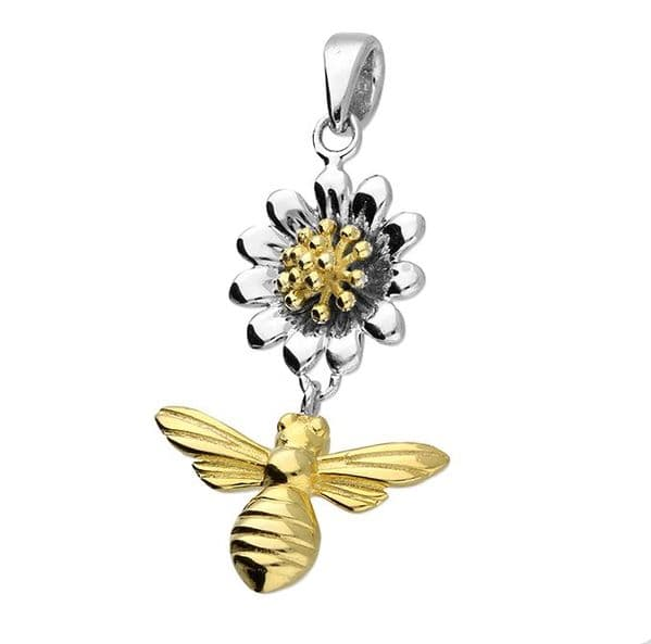 Silver & gold honey bee & flower necklace gift